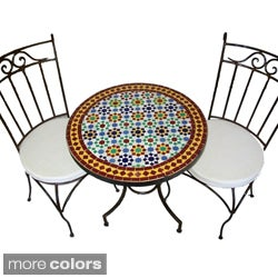 Round Iron Mosaic Three-Piece Dining Patio Set (Morocco)
