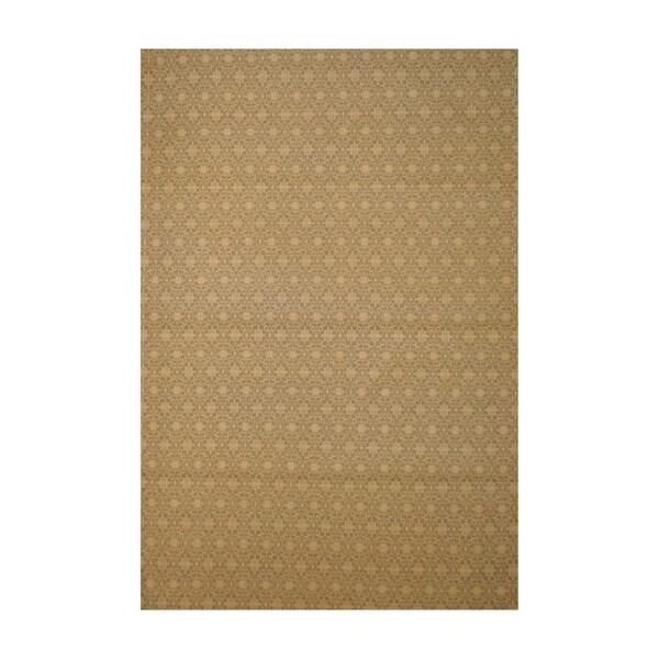 Herat Oriental Indo Flat Weave Hand-tufted Beige/ Ivory Kilim Wool Rug (5'6 x 8')