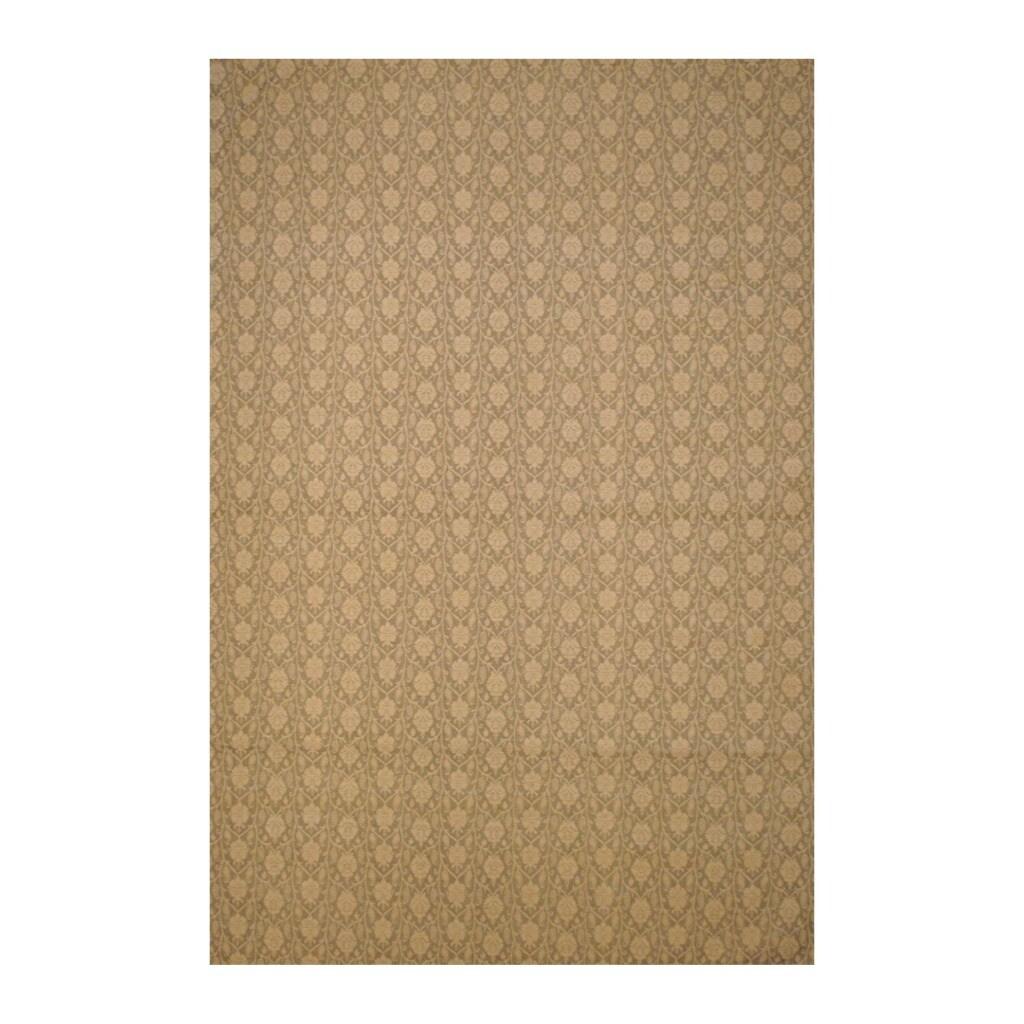 Indo Hand-Tufted Flat Weave Floral Beige/Ivory Kilim Rug (5'6 x 8')