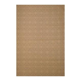Indo Traditional Hand-Tufted Flat Weave Wool Beige/Ivory Kilim Rug (5'6 x 8')