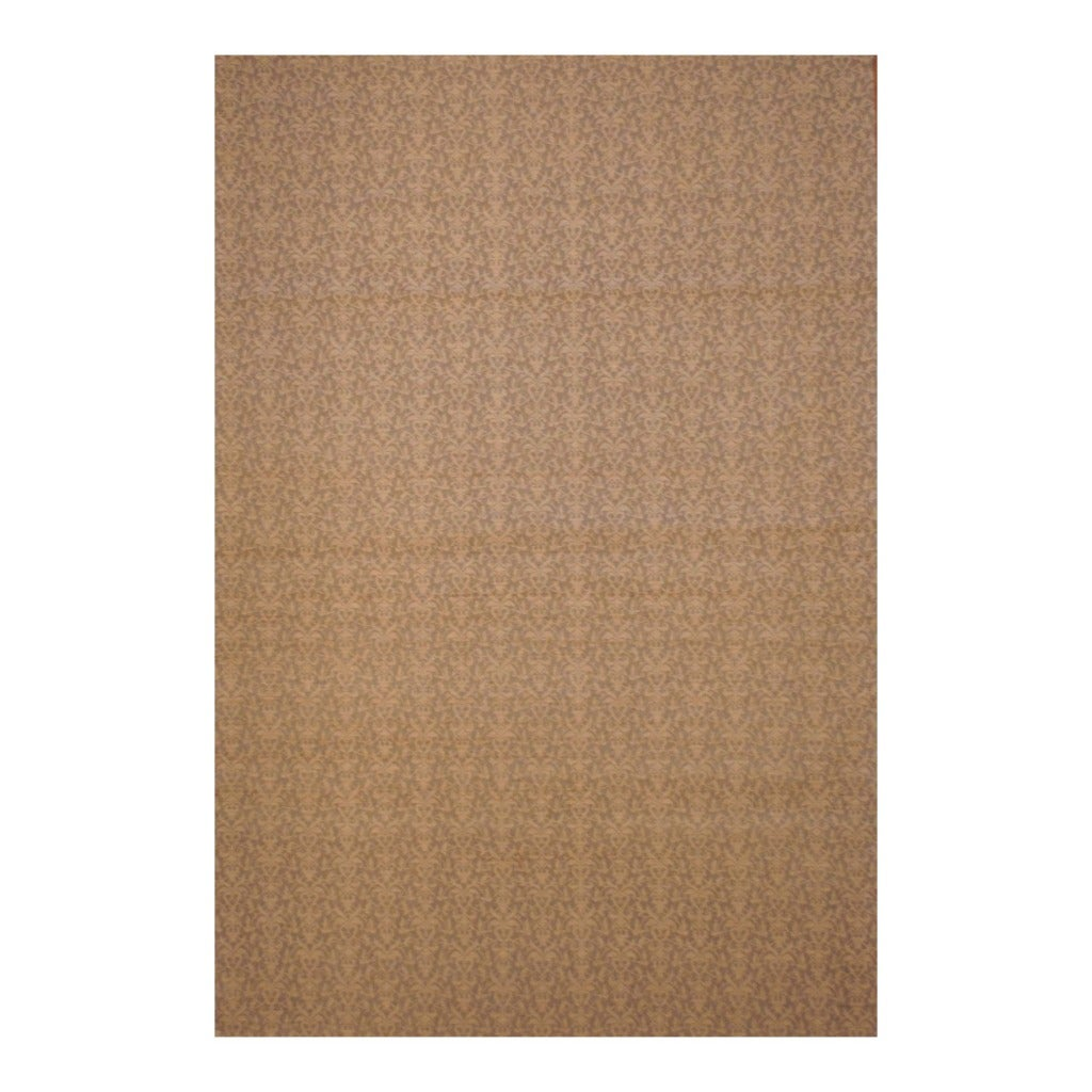 Indo Embroidered Hand-Tufted Flat Weave Beige/Ivory Kilim Rug (5'6 x 8')