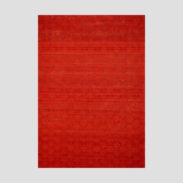 "Contemporary Indo Hand-Tufted Flat-Weave Rust/Red Kilim Rug (5'6"" x 8')"