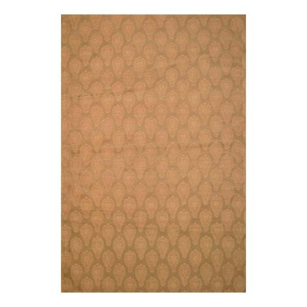 "Worldstock Indo Hand-Tufted Flat-Weave Brown/Light Brown Kilim Rug (5'6"" x 8')"