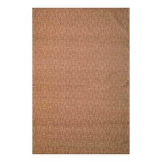 Indo Hand-Tufted Flat-Weave Brown/Light Brown Kilim Rug with Quarter-Inch Pile (5'6