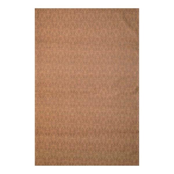 Herat Oriental Indo Flat-Weave Hand-tufted Brown/ Light Brown Kilim Wool Rug (5'6 x 8')