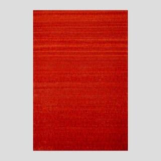 Large Indo Hand-Tufted Flat-Weave Red/Burgundy Kilim Rug (5'6