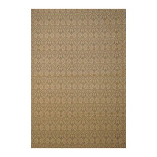 Embroidered Wool Indo Hand-Tufted Flat Weave Beige/Ivory Kilim Rug (5'6 x 8')