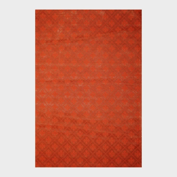 Indo Hand-Tufted Flat Weave Contemporary Rust/ Burgundy Kilim Rug (5'6 x 8')