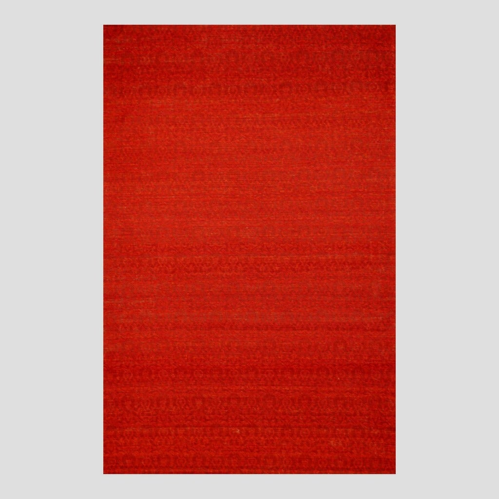 "Indo Hand-Tufted Flat-Weave Red/Burgundy Kilim Area Rug (5'6"" x 8')"