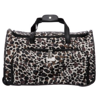 Nicole Miller 21-inch Camo Cheetah Wheeled Carry On Upright Satchel Duffel Handbag