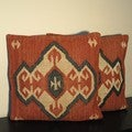Tribal Indo Kilim Red/Beige/Black Pillows (Set of Two)