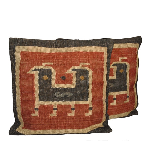 Tribal Indo Kilim Wool/Jute Pillows (Set of Two)