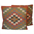 Tribal Indo Kilim Geometric Pillows (Set of Two)