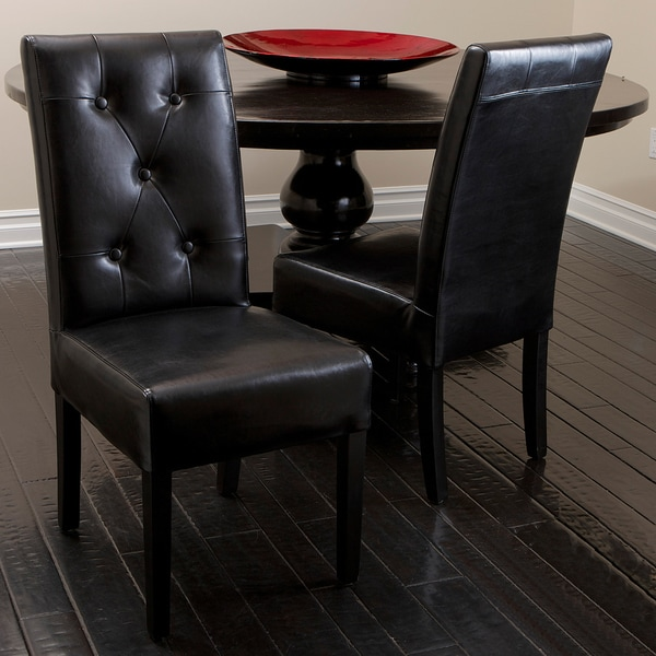 Christopher Knight Home Alberta Tufted Espresso Brown Leather Dining Chairs (Set of 2)