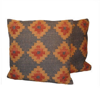 Tribal Indo Kilim Charcoal/Red/Tan Pillows (Set of Two)
