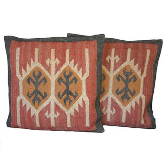 Flat Weave Tribal Indo Kilim Pillows (Set of Two)