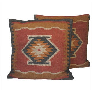 Traditional Tribal Indo Kilim Pillows (Set of Two)