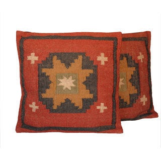 Traditional Wool/Jute Tribal Indo Kilim Pillows (Set of Two)