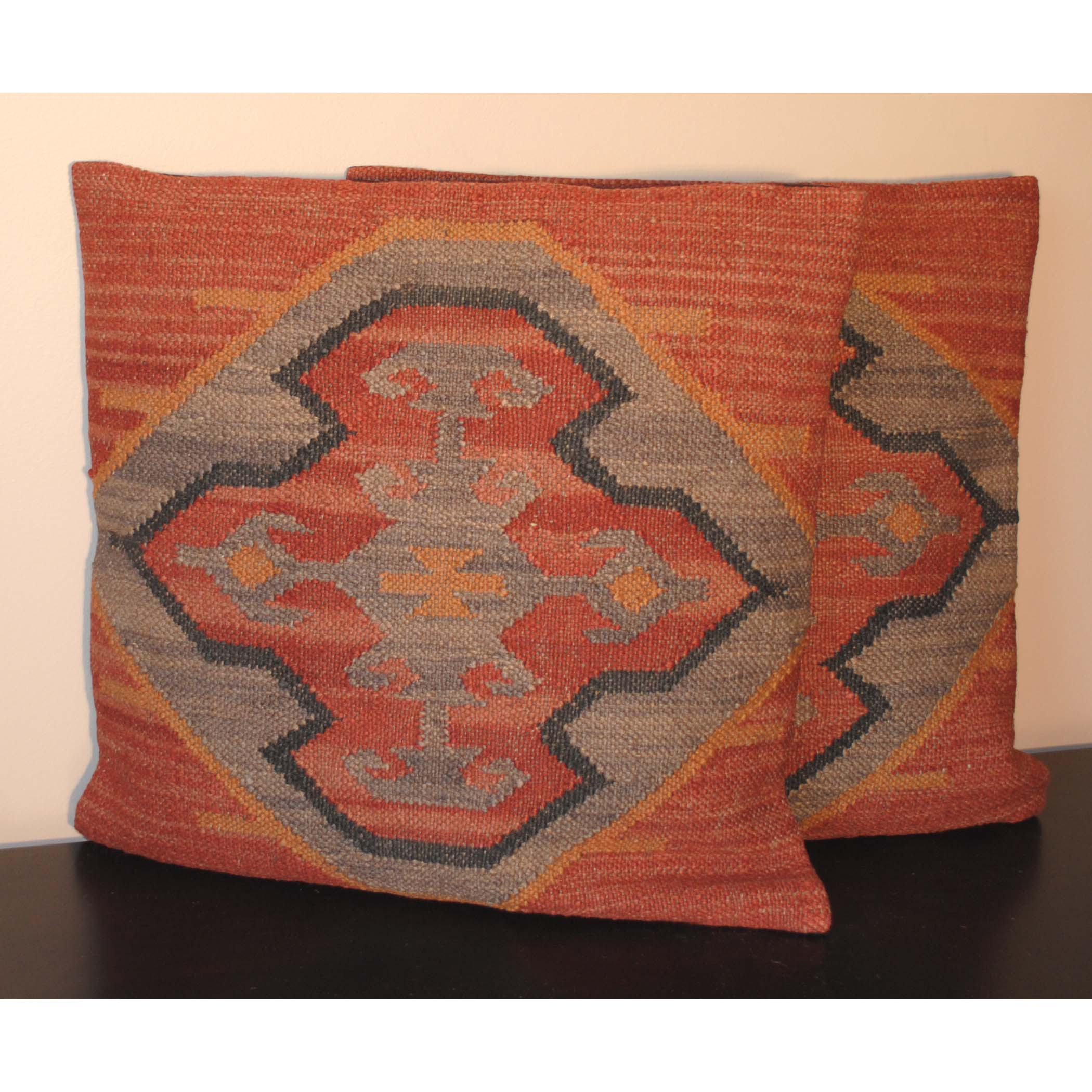 Flat Weave Jute Tribal Indo Kilim Pillows (Set of Two)