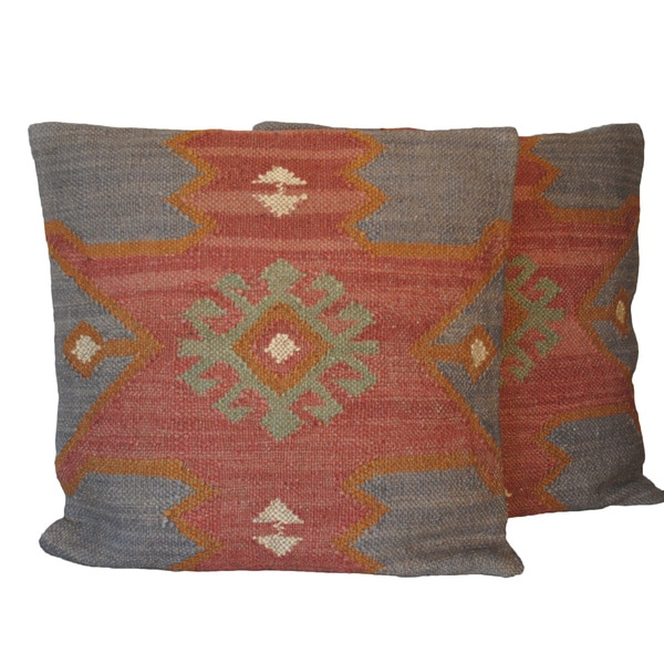 Knife-Edged Jute/Wool Tribal Indo Kilim Pillows (Set of Two)