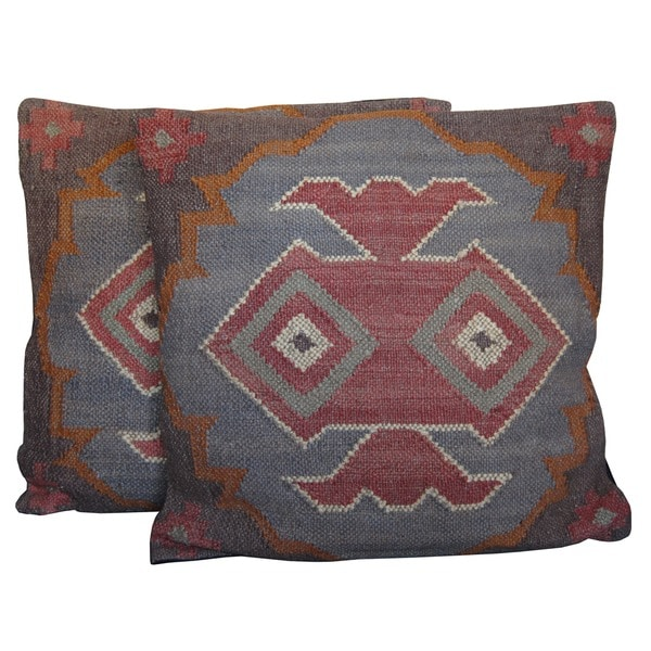 Herat Oriental Multicolor Tribal Indo Kilim Pillows (Set of 2)