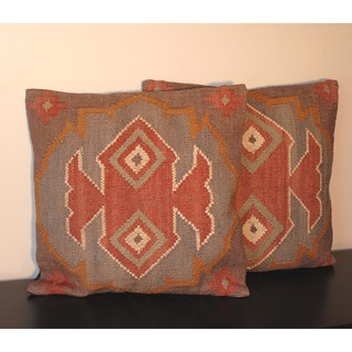 Multicolor Tribal Indo Kilim Pillows (Set of Two)