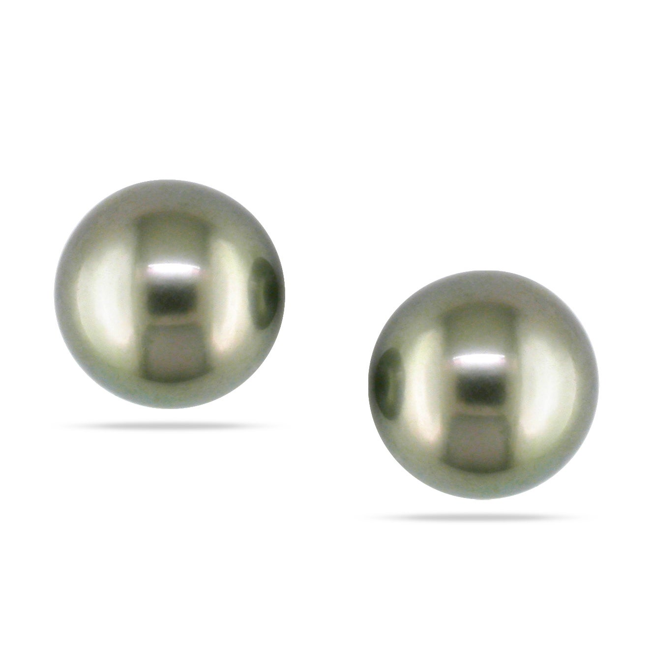 Miadora 14k Yellow Gold Tahitian Black Pearl Stud Earrings (9-10MM)