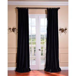 Ebony Black Vintage Cotton Velvet Curtain