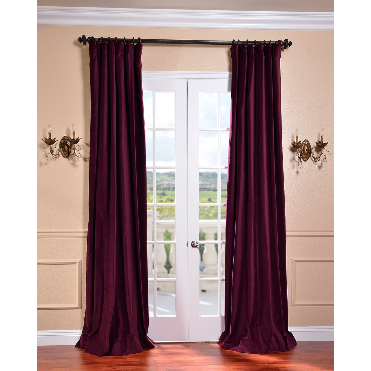 EFF Majestic Plum Vintage Cotton Velvet Curtain at Sears.com