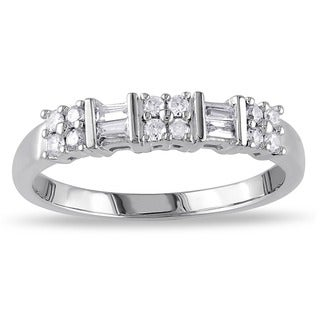 Miadora 10k White Gold 1/4ct TDW Baguette Diamond Ring (H-I, I2-I3)