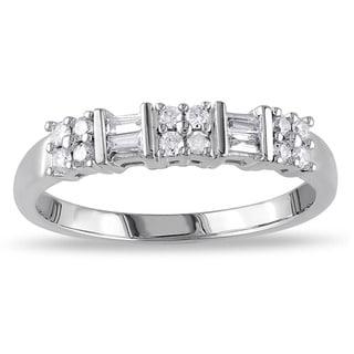 Miadora 10k White Gold 1/4ct TDW Baguette Diamond Ring (H-I, I2-I3)
