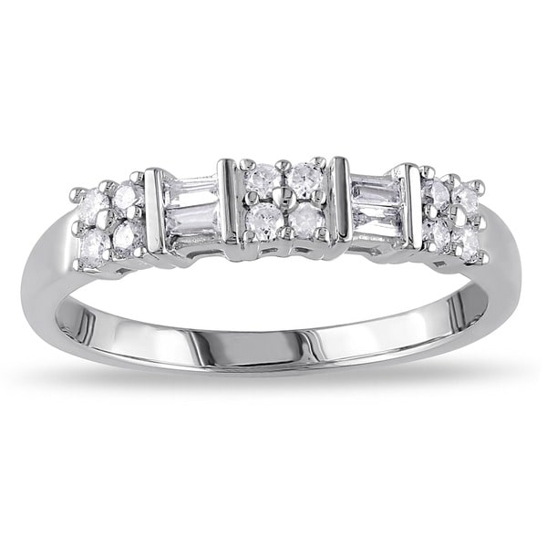 Miadora 10k White Gold 1/4ct TDW Channel-set Baguette and Round-cut Diamond Stackable Anniversary/ Wedding Ring (G-H, I2-I3)