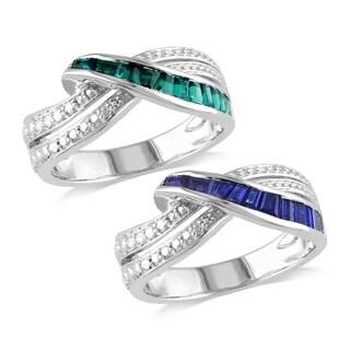 Miadora Sterling Silver Sapphire or Emerald Ring