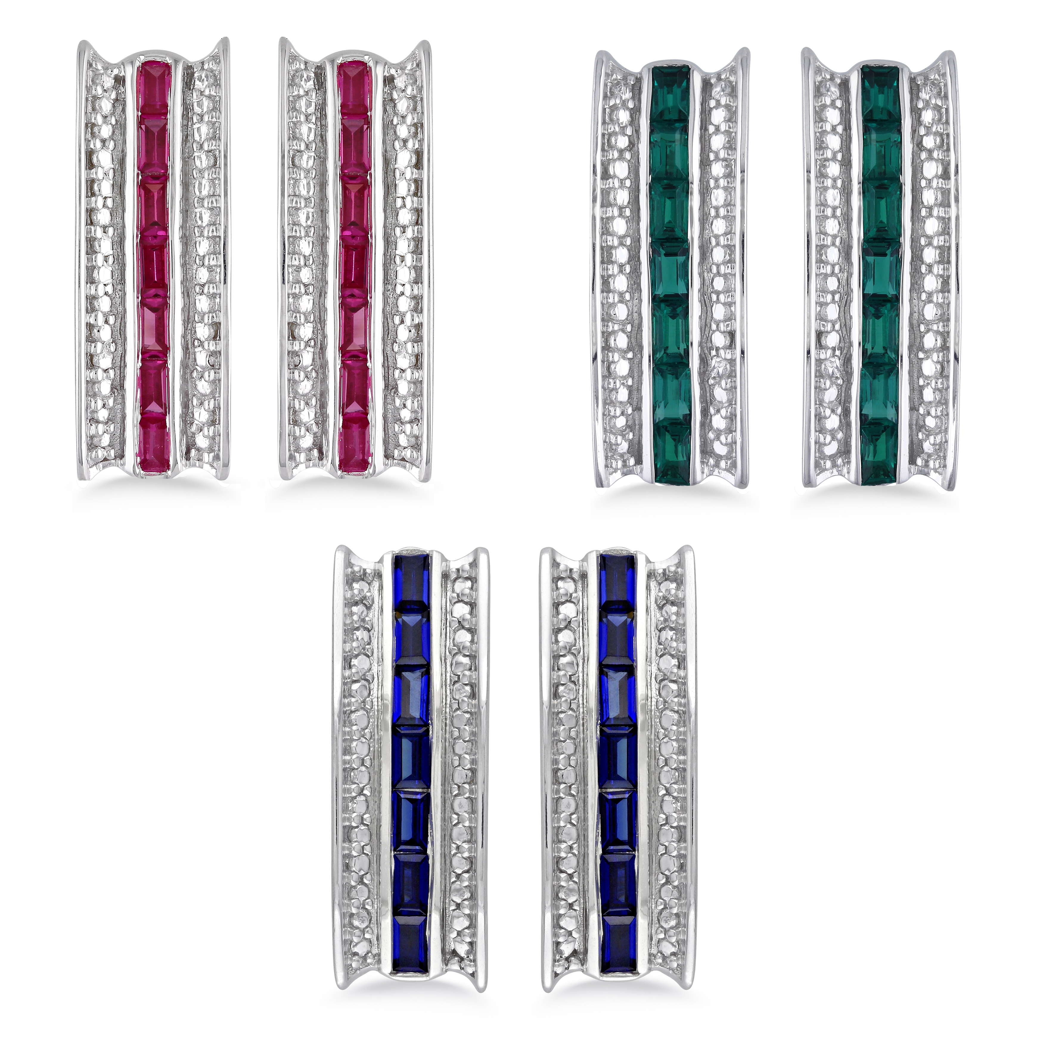 Miadora Sterling Silver Emerald, Sapphire or Ruby Earrings