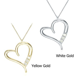 Auriya 10k White Gold 1/10ct TDW Diamond Heart Necklace