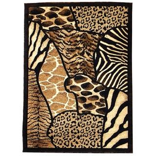 Skinz Design Aminal Skin Prints Patchwork Polypropylene Area Rug (5' x 7')
