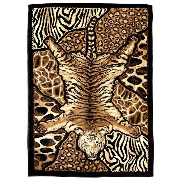 Skinz Design Tiger/ Animal Skin Patchwork Area Rug (5' X 7