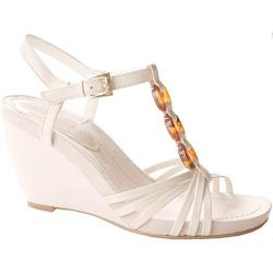 Women's Bandolino Nevina White/Dark Brown Leather