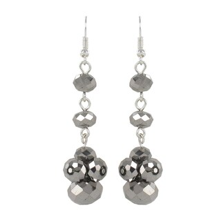 Roman Silvertone Faceted Faux Crystal Bead Dangle Earrings