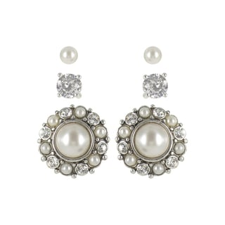 Roman Faux Pearl and Crystal Silvertone Earring Trio Set