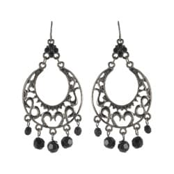 Roman Faceted Jet Crystal Metallic Chandelier Dangle Earrings