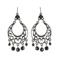 Roman Faceted Jet Crystal Metallic Chandelier Dangle Earrings