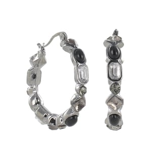 Roman Silvertone Faceted Jet and Clear Crystal Hoop Earrings
