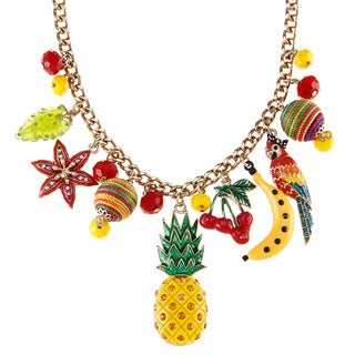 Betsey Johnson Pineapple Fruit Charm Necklace