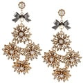 Betsey Johnson Crystal Flower Link Dangle Earrings