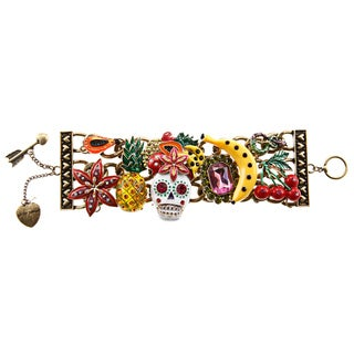 Betsey Johnson Skull Face Wide Toggle Bracelet