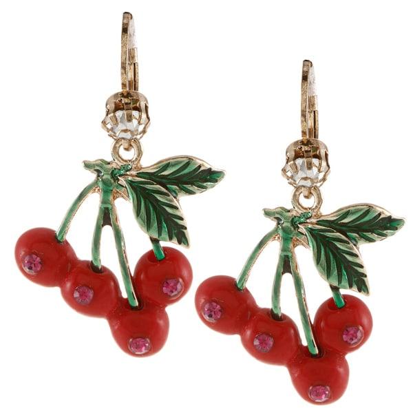 Betsey Johnson Cherry Drop Dangle Earrings
