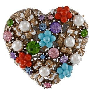 Betsey Johnson Heart Charm Stretch Fashion Ring