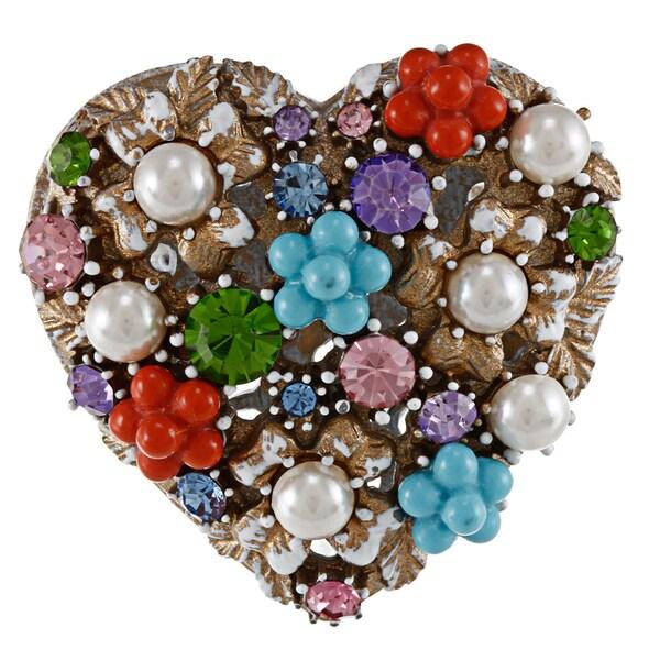 Betsey Johnson Heart Charm Stretch Fashion Ring