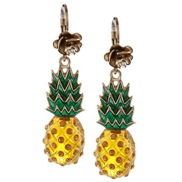 Betsey Johnson Pineapple Drop Dangle Earrings